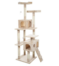 Petmaker 66 Tall Beige Skyscraper Sleep and Play Cat Tree House Scratching Tower