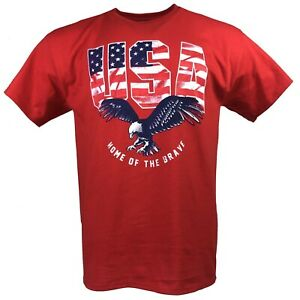 HOME OF THE BRAVE USA ADULT RED T-SHIRT M L XL 2XL PATRIOTIC OLYMPICS FREE SHIP