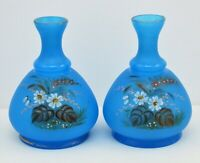 VINTAGE/ ANTIQUE PAIR OF BLUE SATIN GLASS VASES HAND PAINTED FLOWERS