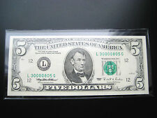 $5 1995 SAN FRANCISCO FEDERAL RESERVE NOTE CHOICE UNC((3 DIGIT SERIAL#3oooo8o5))