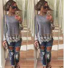 Fashion Women Summer Vest Top Long Sleeve Blouse Casual Tank Tops T-Shirt Lace