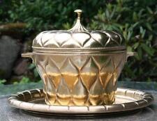 Messing Bowle ohne Tablett! Jugenstil Art Deco Cachepot Topf Deckel Kunstgewerbe