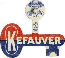 Classic Rebus 1952 Estes KEFAUVER Campaign Key-Shaped Tab (3608)