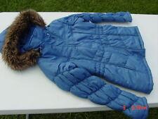NWT Nordic Blue Hooded Puffer Coat Faux Fur Trim Classy Juniors Womens Stylish