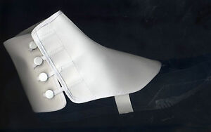 Adult Vinyl Spats Shoe Covers Snaps Buttons Elastic S/M or L/XL White BB-95
