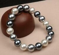 shell pearl bracelet, 10mm Weiß & Grau Muschelkernperlen Stretch-Armband