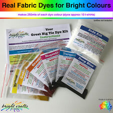 Tie Dye Kit REFILL 6 rainbow colours real fabric dyes for bright colours