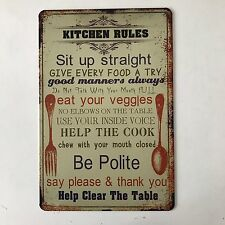 Kitchen Rules Be Polite Vintage Tin Sign Bar pub home Wall Decor Metal Poster