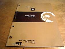 John Deere 6076 Engines 6076Af 6076Hf Operator's Manual Jd Oem