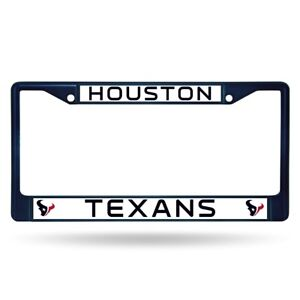 Houston Texans Licensed Blue Painted Chrome Metal License Plate Frame
