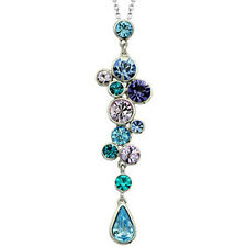 Light Sapphire Blue and Purple White Gold Finish Pendant Necklace UK jewellery