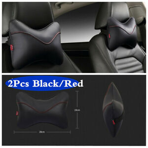 PU Leather Car Seat Headrest Pillow Head Neck Support Breathable Cushion 2Pcs