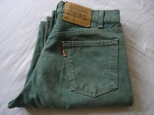 Vintage Levi 555 Green Jeans Orange Tab Zip Fly W30 L34 30x34 Made in USA