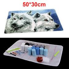 DIY 3D Wolf Embroidery Latch Hook Kit Needlecrafts Gift Rug Cushion Mat Making
