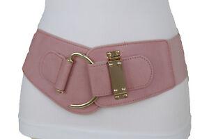 Women Hip High Waist Fashion Wide Pastel Pink Samlon Belt Gold Hook Buckle S M