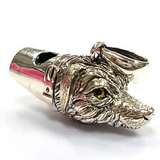 ANTIQUE STYLE IRISH WOLFHOUND DOG WHISTLE GLASS EYE PENDANT 925 STERLING SILVER