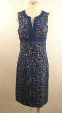 Boden Sz 8 Long Navy Blue Geometric Animal Print 100% Cotton Dress