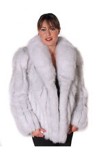 Madison Avenue Mall Women's Real Natural Blue Fox Fur Jacket Coat - 25""