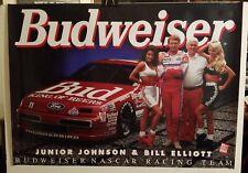 1993 Junior Johnson & Bill Elliott Budweiser Beer Nascar Racing Team Poster Sign