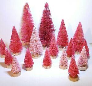 16pc ULTIMATE PINK & RED MIni Miniature Sisal Bottle Brush Xmas Trees Set Lot