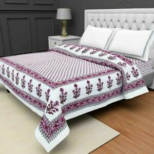 Indian Hand Block Floral Print Queen Size Coverlet Bedspread Cotton Throw Quilt