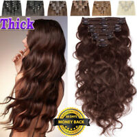 Wavy Brwon Double Weft Clip In Remy 100% Human Hair Extensions Thick Full Head