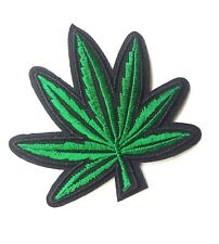 Black & Green Cannabis Leaf, Patch Iron-On/Sew-On Embroidered Applique, Hippie