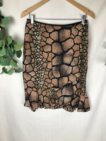 ANTHEA CRAWFORD Collection Black Brown Reptile Pattern Knee Length Skirt - 12