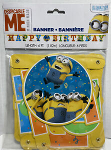 Despicable Me Minions Happy Birthday Hanging Banner Party Decoration 6 Ft