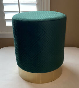 Emerald Green And Gold Quilted Glamour Stool