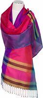 Seidenschal 100% Seide, Silk ècharpe foulard silk soie scarf stole Fransen Schal