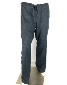Prana Mens Sutra Yoga Lounge Pants Drawstring Gray Hemp Blend size L