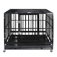 "47"" Heavy Duty Pet Dog Cage Strong Metal Crate Kennel Playpen w/ Wheels&Tray"