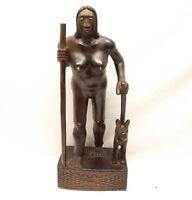 Vtg Hand Carved Wood Igorot Hunter Statue Philippines Warrior Female Nude Figure