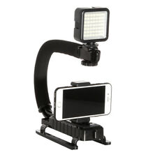 C Handle Hand Grip Holder Stabilizer + 49 Led Light Lamp for Phone Video
