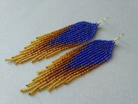 Fringe Beaded Earrings Blue Gold Seed Bead earrings long earrings handmade