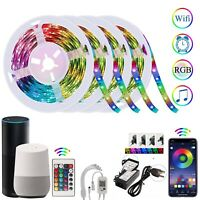 Alexa Smart WiFi LED Strip Lights Bar Music Sync 66FT/20M with Remote Waterproof