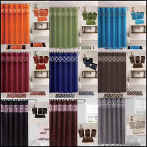 NEW 19PC COMPLETE BANDED BATHROOM MATS SHOWER CURTAIN HOOKS + ACCESSORY SET