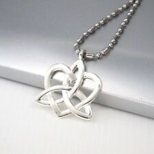 "Silver Chrome Alloy Celtic Trinity Knot Love Heart Pendant 24"" 61cm Necklace"