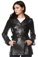 TRENCH' Ladies Real Leather Jacket Black Classic Mid-Length Designer Coat 1123