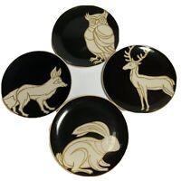 "PATCH NYC Target Set of 4 Salad plates 7.75"" Rabbit, Fox, Owl & Deer Woodland"