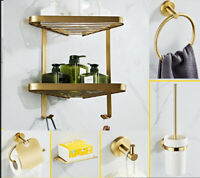 New Brass Brushed Gold Bathroom Accessory Shower Caddy Towel Bar Rack Robe Hook