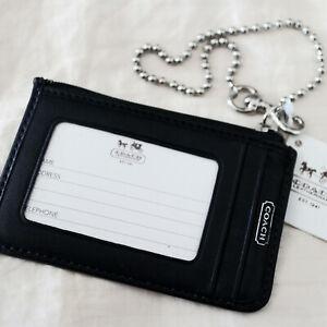 NWT COACH Black OP Art Signature Travel Convenience ID Card Case Wristlet NEW