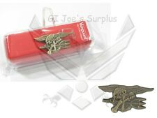 Us Military Usn Navy Special Warfare Seal Trident Antique Gold Lapel Pin New L5