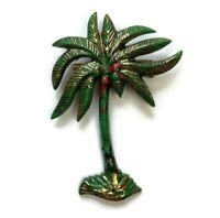 Vintage Retro Green Plastic Palm Tree Coconuts Fashion Florida Beach Brooch Pin