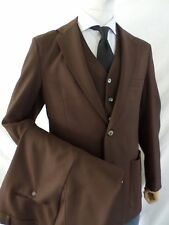 CHOCOLATE BROWN polyester knit 3 three piece vest western suit 34x33 40R