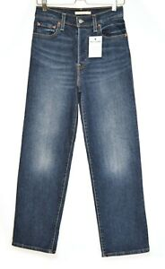 Womens Levis RIBCAGE STRAIGHT High Waisted Dark Blue Stretch Jeans 10 W28 L29