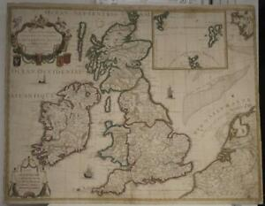 UNITED KINGDOM & IRELAND 1780 CREPY UNUSUAL ANTIQUE ORIGINAL COPPER ENGRAVED MAP
