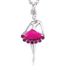 Pink Ballerina Necklace Pendant Ballet Dance Charm Gift for Girls Teens Women u1