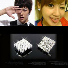 1Pair Crystal Rhinestone Diamante Square Magnetic CLIP ON Stud Earrings